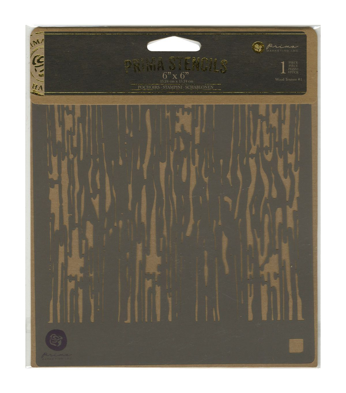 Prima Marketing Designer Stencil-Wood Texture #1