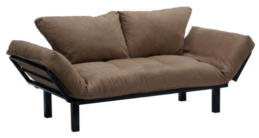 Hennepin Suede Daybed Futon Lounger With Black Metal Steel Frame Peat 321 99