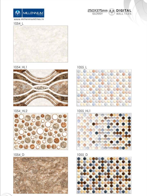 Designer Patterns 1054 1055 Millennium Tiles 250x375mm 10x15 Digital Ceramic Glossy Backsplash Wall Tiles 1054 L 1054 Hl1 1054 Hl2 1054 D 105