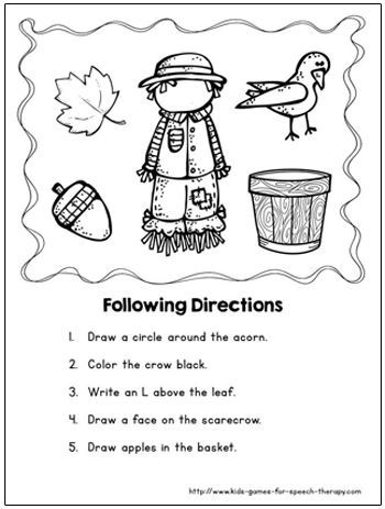 Fall Speech Therapy Activities & Language Worksheets