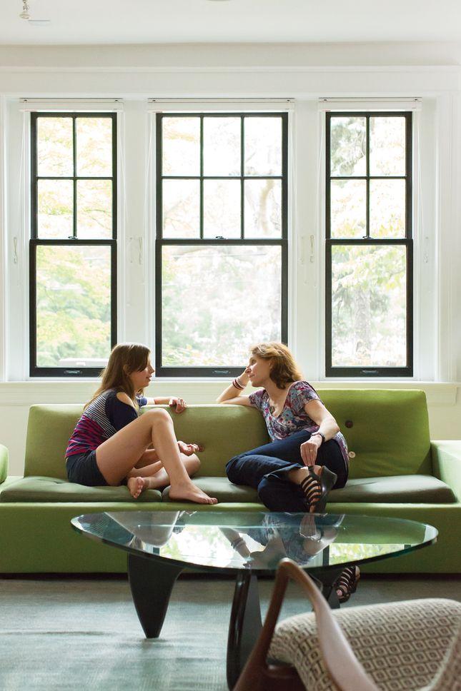 Via Dwell A Beautiful Living Room Featuring The Vitra Polder Sofa - Mini noguchi table