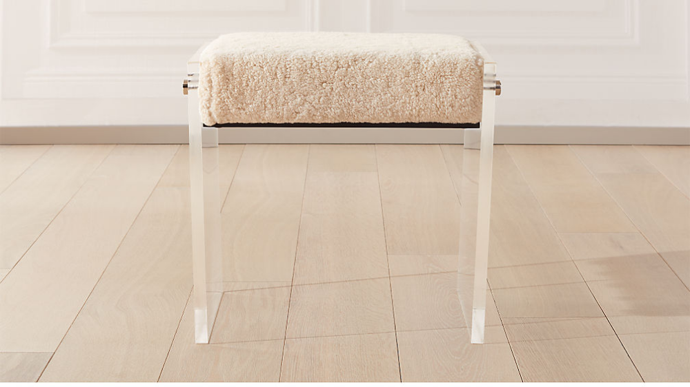 Acrylic Shearling Stool + Reviews Acrylic chair vanity