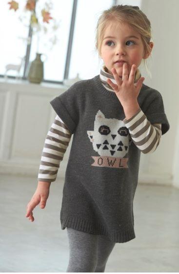 b8836e1d53912 Robe fille en tricot avec motif hibou Vertbaudet - mode enfant - mode fille  - collection
