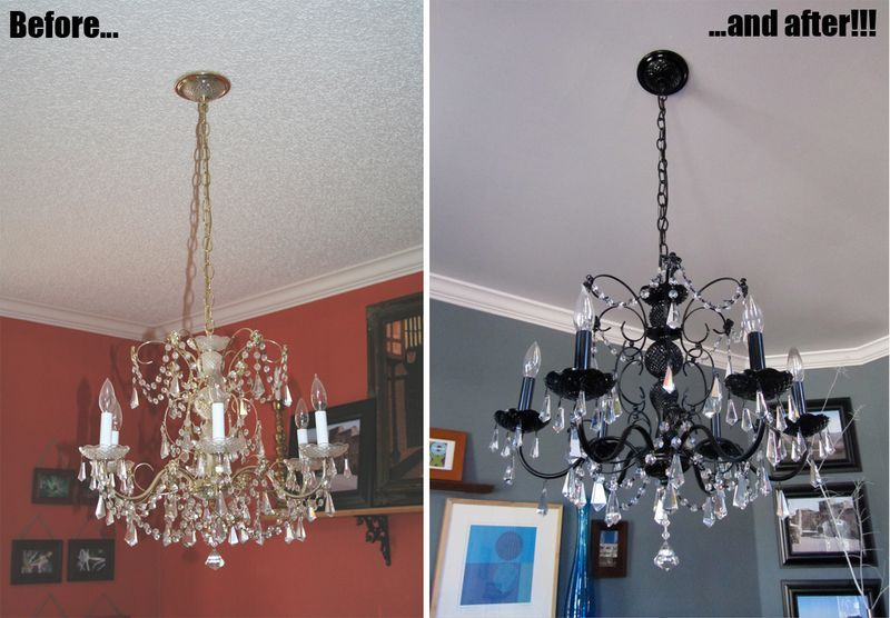 Before and after diy how to paint a chandelier metal primer before and after diy how to paint a chandelier metal primer paint aloadofball Image collections