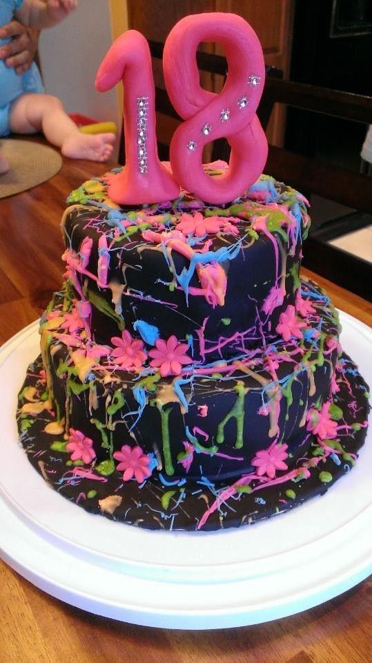 Neon Splatter Cake I Made For Girl 18th Birthday Neon Cakes