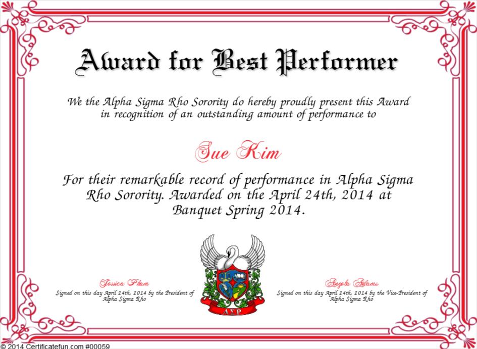 award for best performer certificate