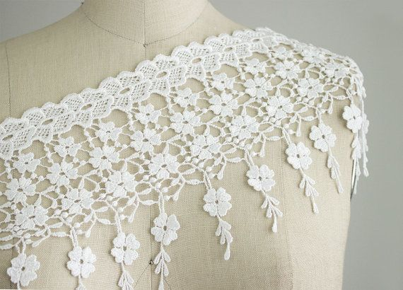 NEW ITEM White Floral Rose Drippy Fringe Lace Trim by CraftCabaret