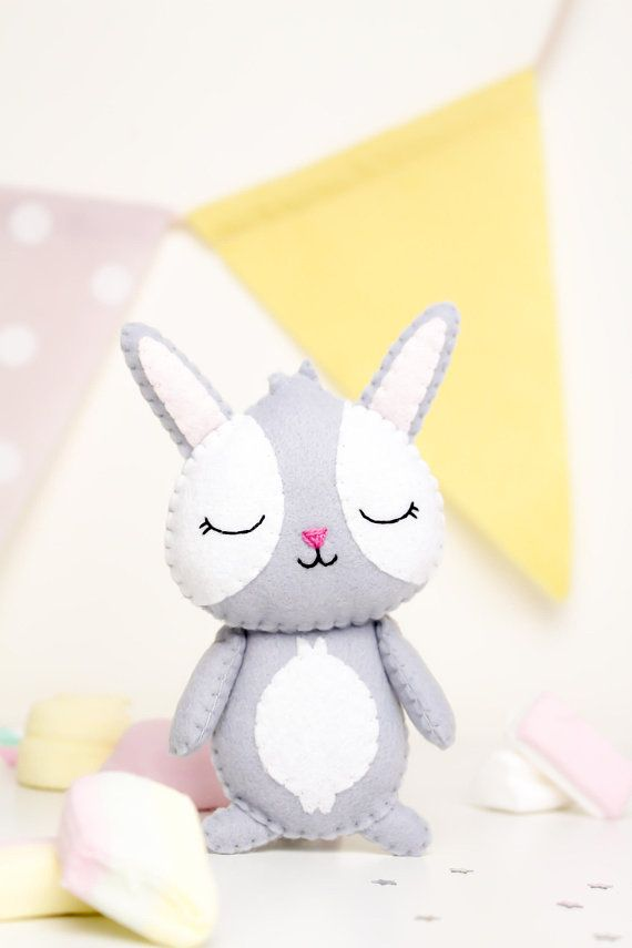PDF toy sewing pattern. Felt Bunny Toy Pattern. Easter Rabbit ...