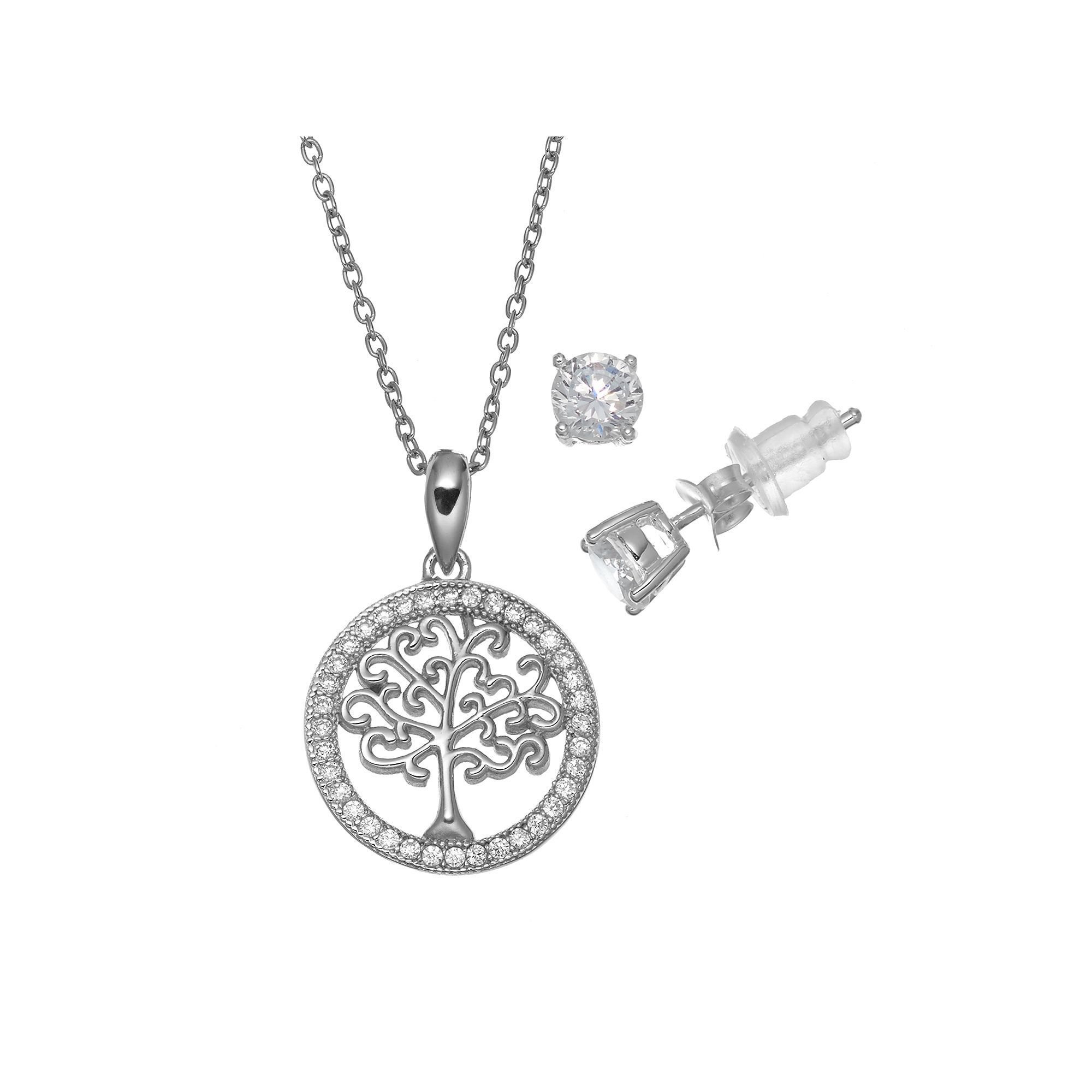silver tree pure pin zirconia cubic necklace s earring women sterling stud pendant set family