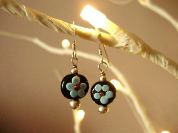 Glass floral earrings Beaded earrings by THWoodlandCreatures