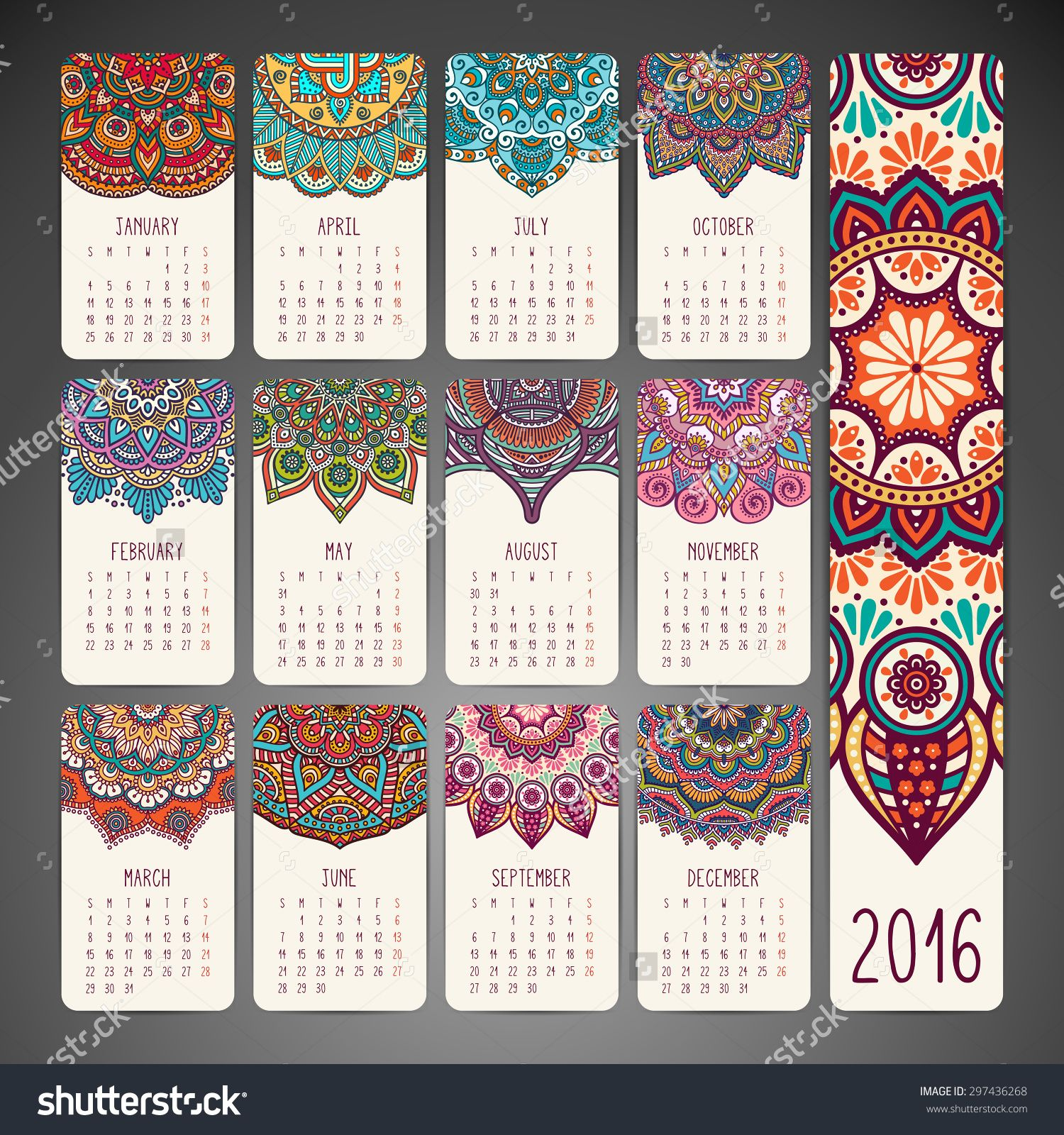Calendar Design Pattern : Calendar vintage decorative elements oriental