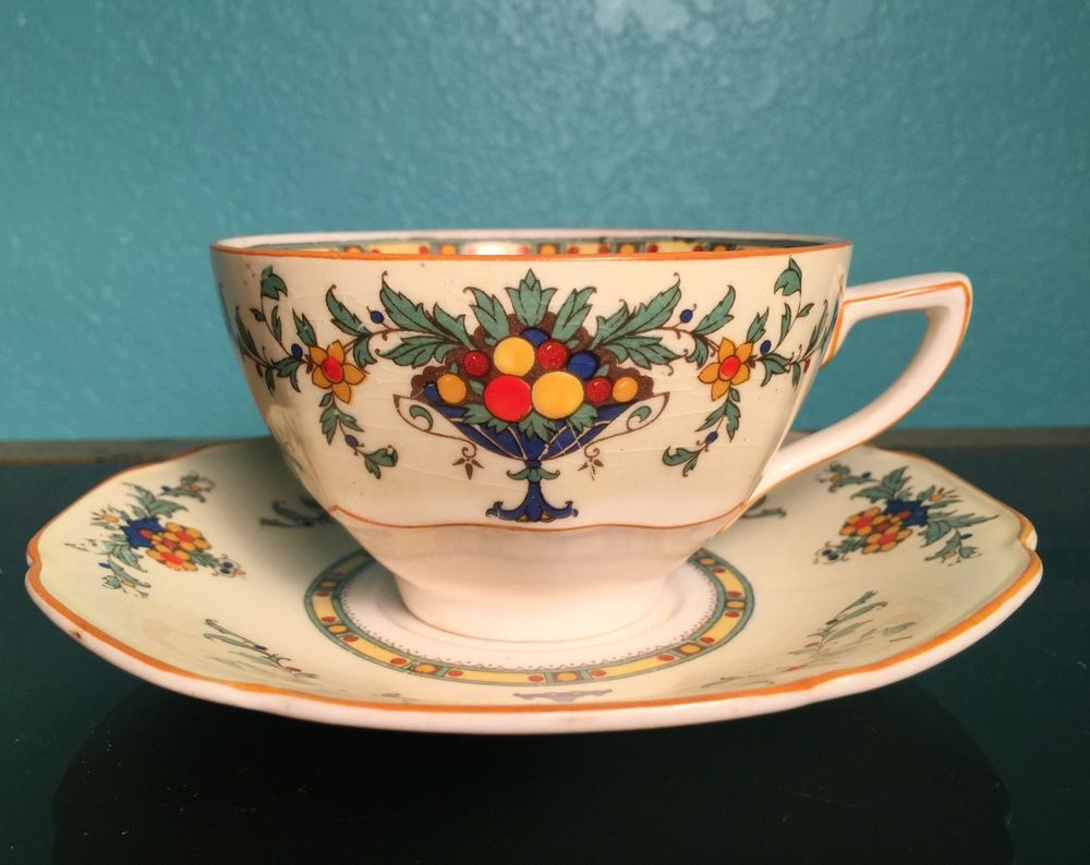 Crown Ducal Ware Cup Saucer A1476 Pattern Made In England 1930 S Pottery Glass Pottery China China Dinnerware Crown Ducal Pattern Making Saucer