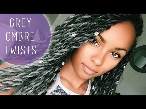 grey ombre twists & hair