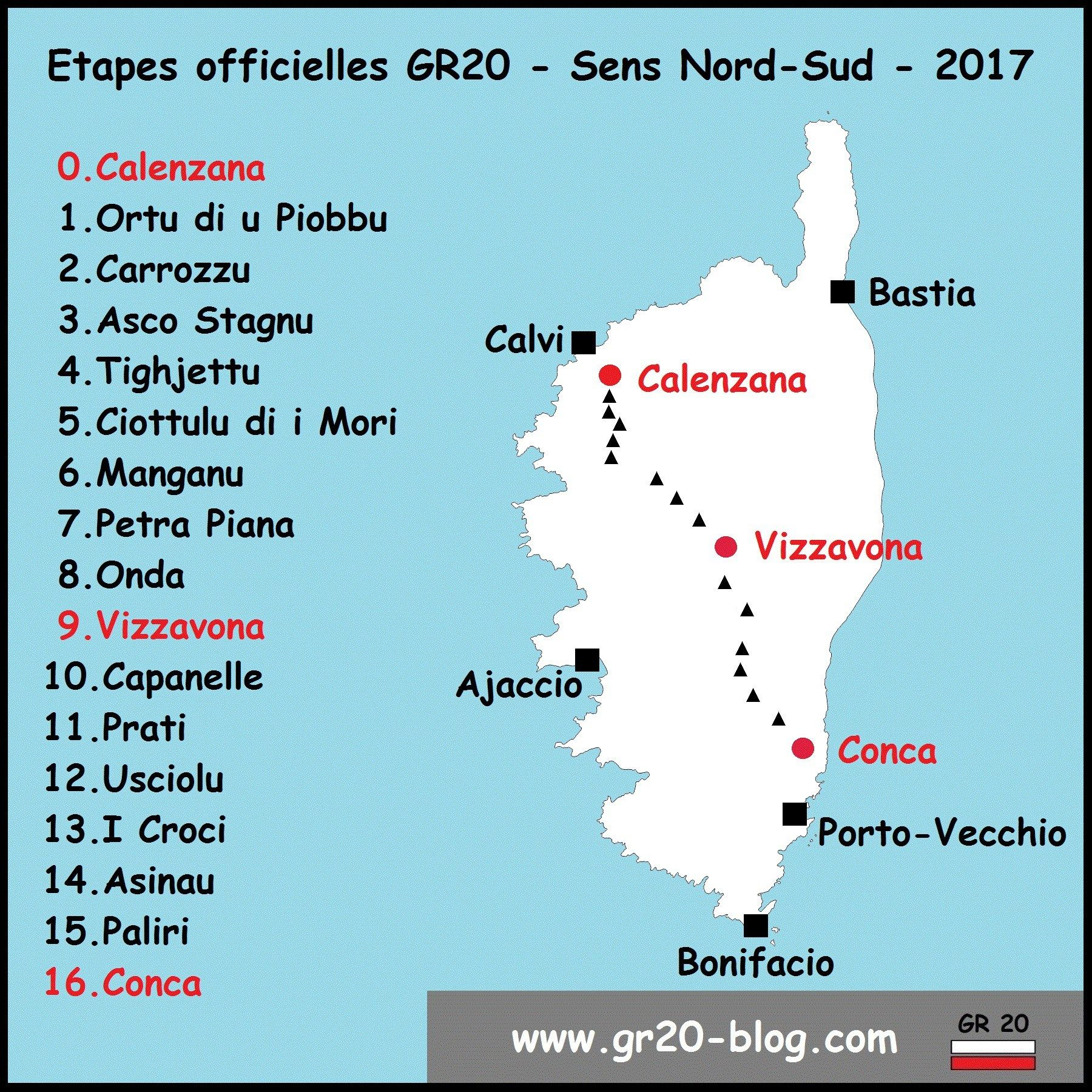 La Carte Des Etapes Refuges Du Gr20 Corse Carte Randonnee