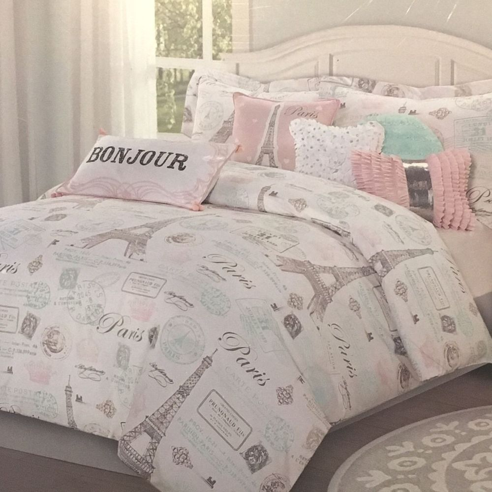 7pc Paris Bedding Set Eiffel Tower Pink Aqua Twin Comforter Sheet