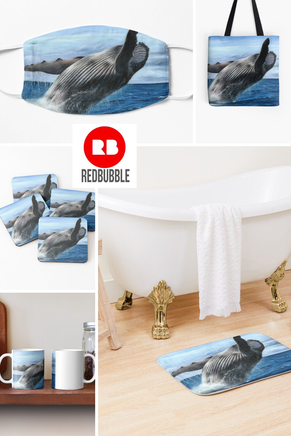 Humpback Whale pastel artwork available on a variety of products from Redbubble. #redbubble #whale #humpbackwhale #artforsale #artprints