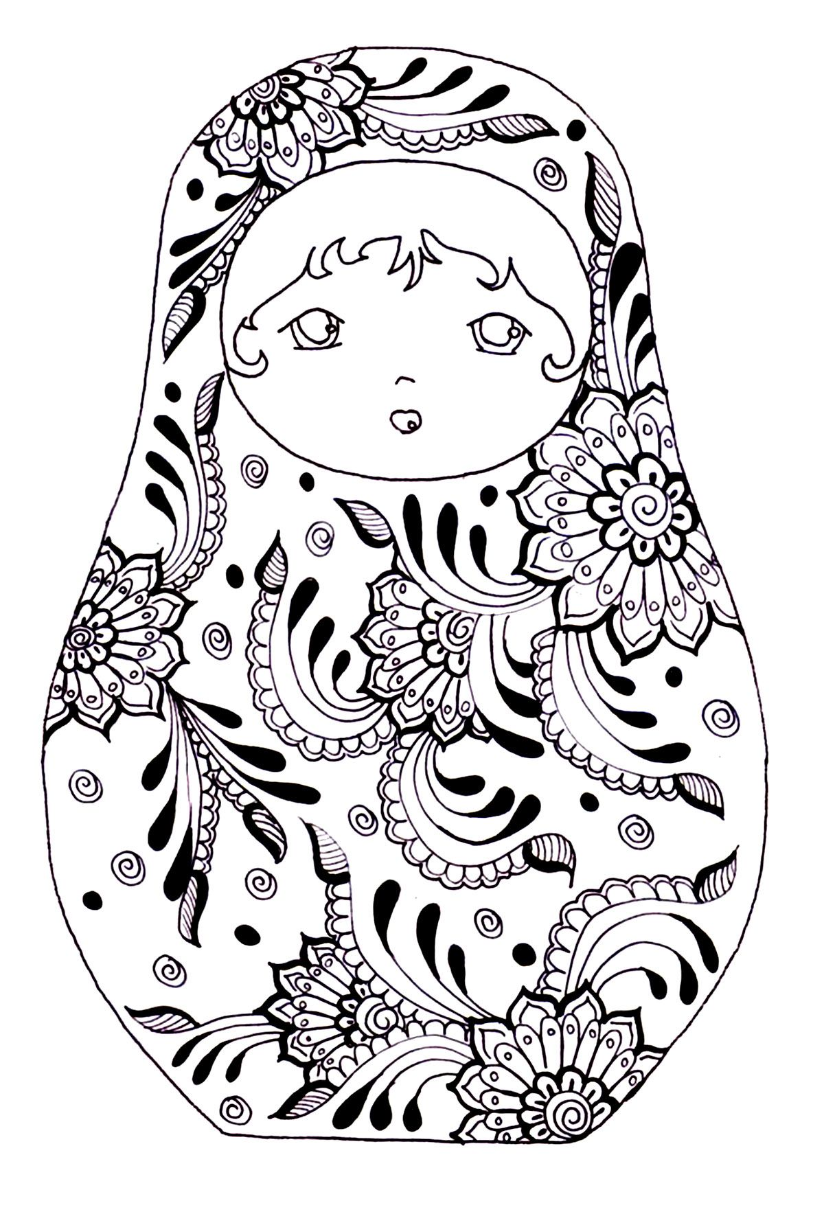 Free Coloring Page Coloring Russian Dolls 3
