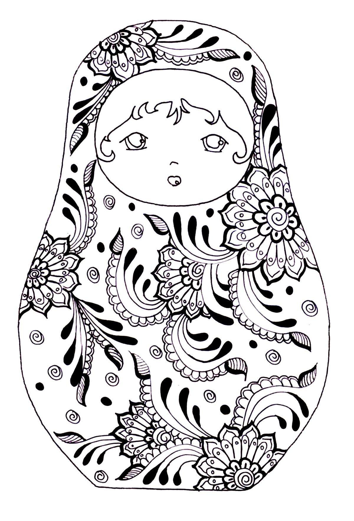 Free Coloring Page Coloring Russian Dolls 3 Babushka