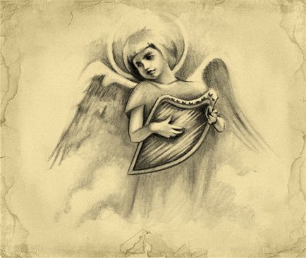 Tatuajes Angeles Llorando angel harp tattoo design | Ángeles llorando | pinterest | Ángeles