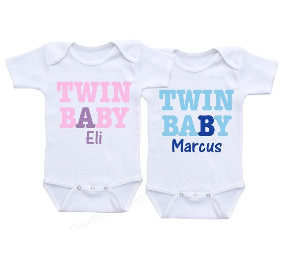 1b7bcdb3 Personalized Baby A and Baby B Twin shirts - Set of 2 Cute Baby Onesies or  Shirts - Gift Set
