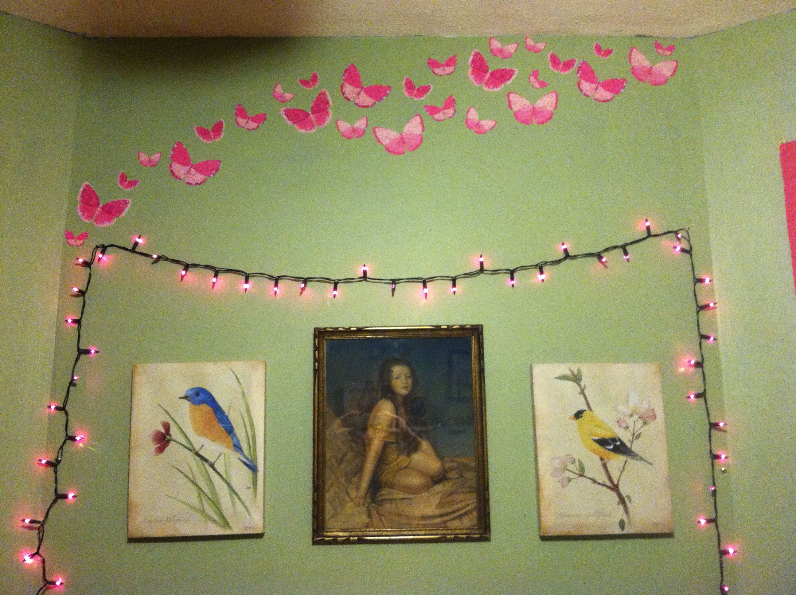 Wall as headboard: purple lights(Family Dollar), bird paintings ...