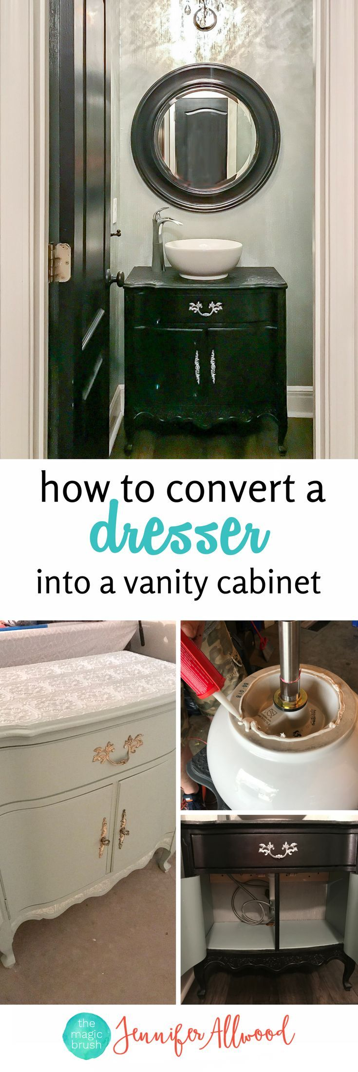 Info's : How to Make a Black Dresser Bathroom Vanity Cabinet | Convert an old dresser into a vanity cabinet | black & grey bathroom ideas by Jennifer Allwood