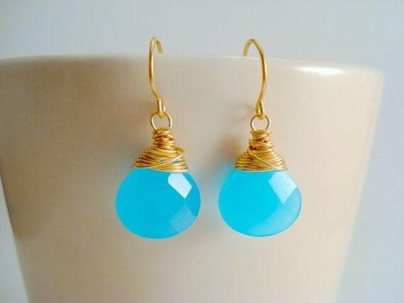 Dangling Blue Gemstone Earrings, Peruvian Blue Chalcedony Earrings, Light  Blue Earrings, Aqua Blue Earrings, Gold Bridesmaid Jewelry Via Etsy