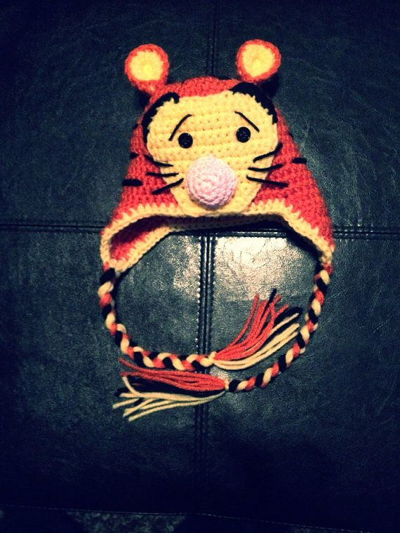 Tigger newborn to toddler crochet hat on Etsy, $25.00