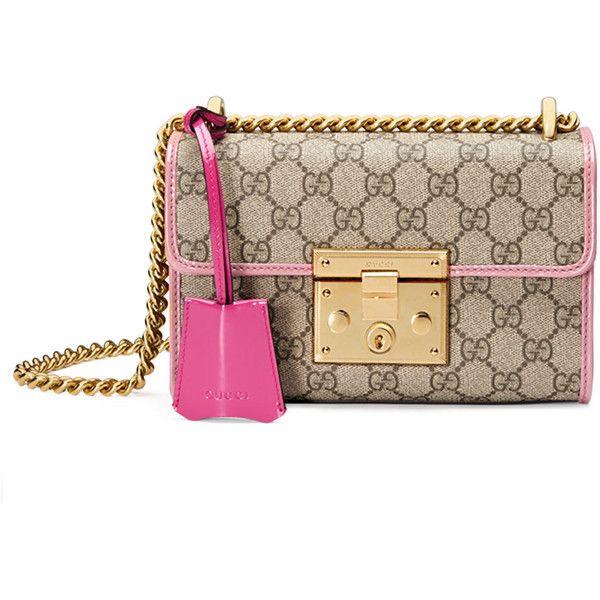 Gucci Padlock Small GG Supreme Shoulder Bag ($1,590) ❤ liked on Polyvore featuring bags, handbags, shoulder bags, gucci purses, brown shoulder bag, brown purse, gucci shoulder bag and chain strap purse