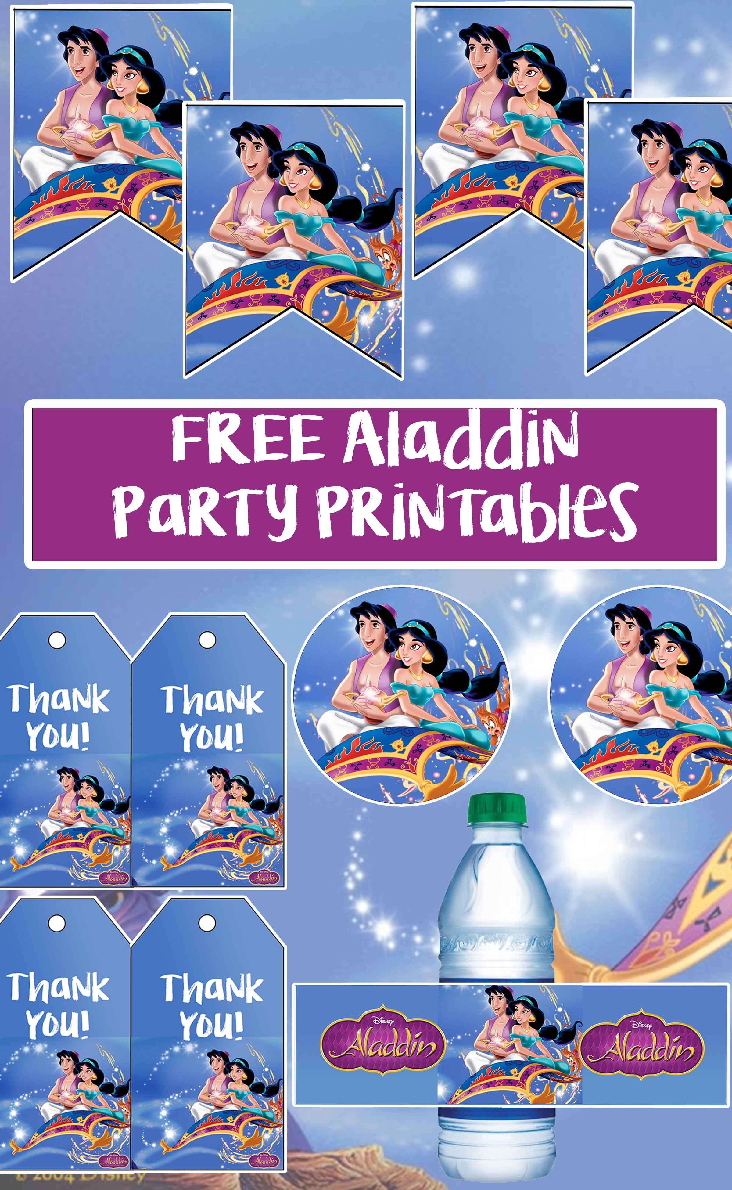 Aladdin Birthday Party Printable Files Aladdin Birthday Party Aladdin Party Princess Jasmine Birthday Party