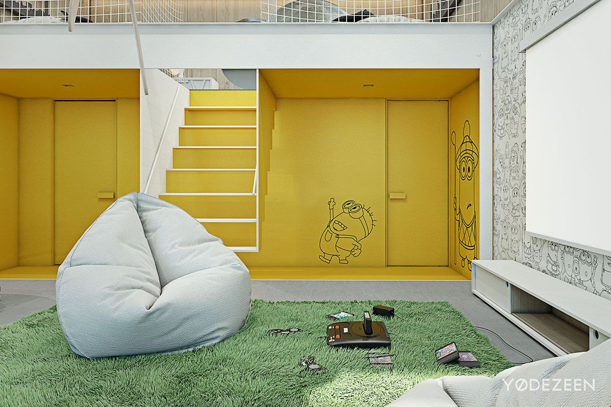 Adorable Apartment Design For Kids With Lots Of Funny Accents | Wall ...