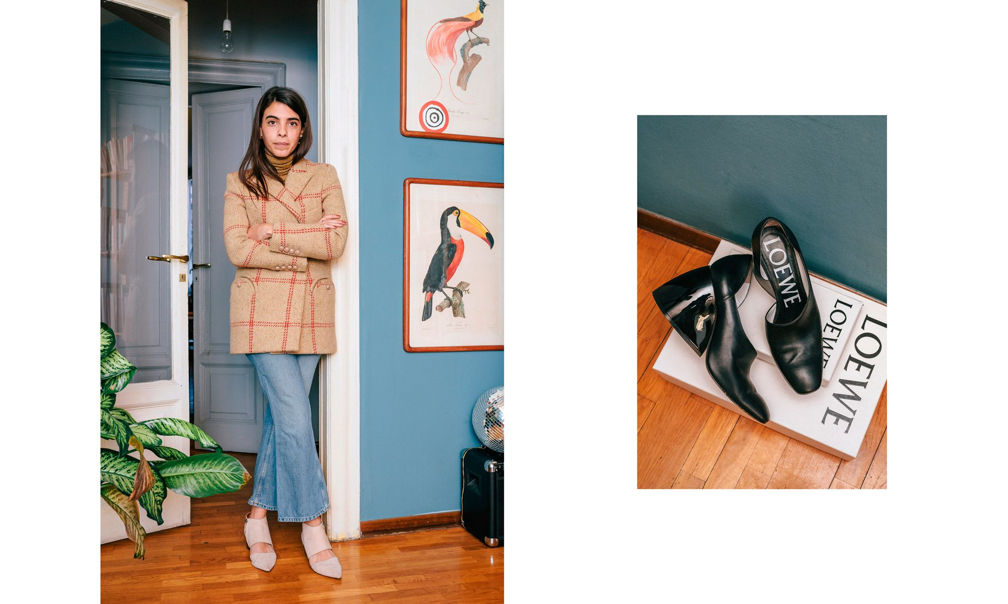 Outfit: Jacket from Bláze Milano, jeans from Topshop and shoes from Missoni. To the right: Shoes from Loewe.