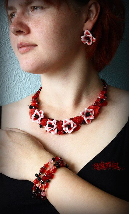 Jewelry set Hand sculptured Statement necklace Red and by Sysimust, $100.00