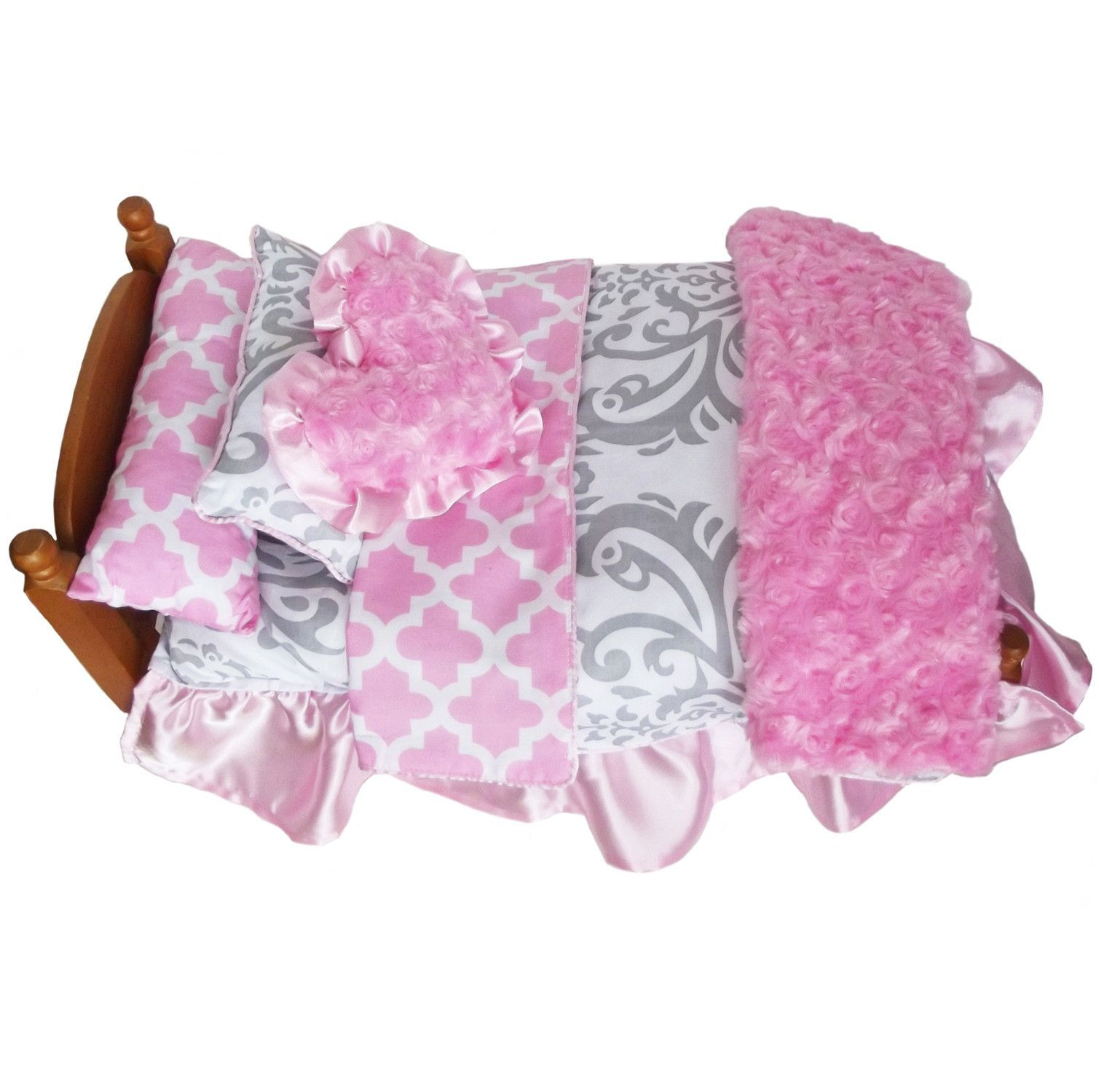 "AnnLoren 7-Pc Pink Lattice & Grey Bedding Set For American Girl and 17"" Dolls - $29.99 through link! #americangirl #dolls"