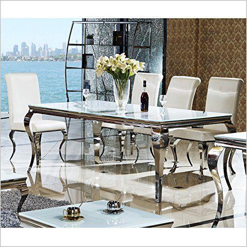200 x 90 x 76 cm lara wei esszimmer designer luxus tisch bro edelstahl glas barock chrom milchglas schreibtisch x 90 x wei - Esstisch Barock Modern