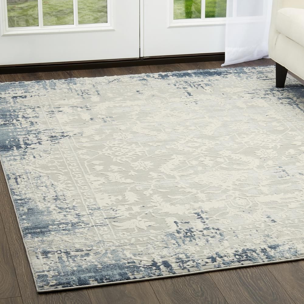 Home Dynamix Palmyra Soft Blue 1 Ft 10 In X 2 Ft 8 In Indoor Area Rug 5 13729 740 Blue Area Rugs Area Rugs Blue Gray Area Rug