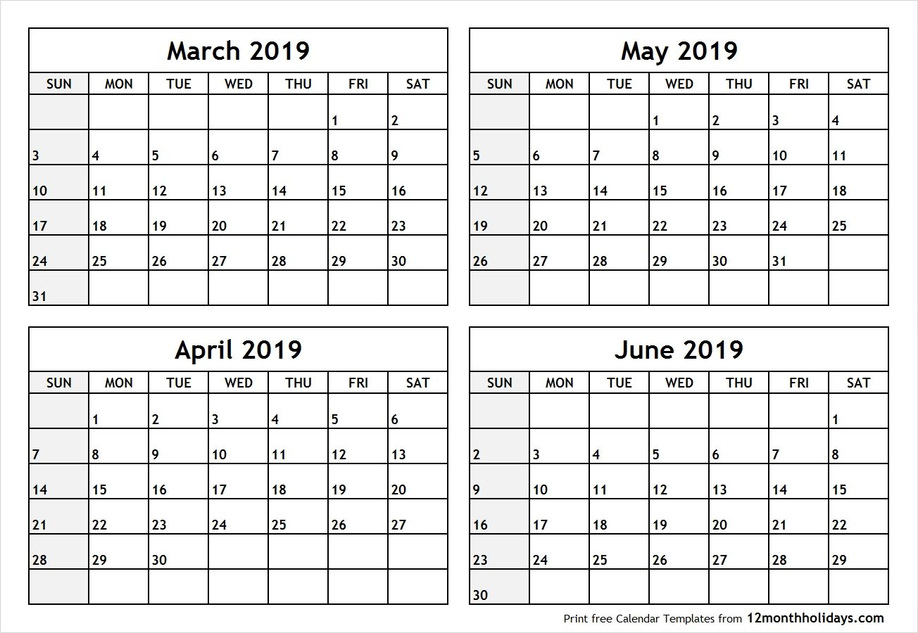 Printable Blank Four Month March April May June 2019 Calendar | Free