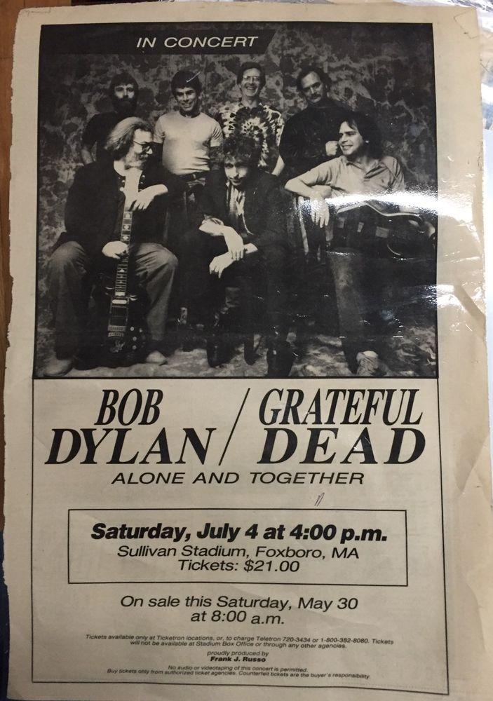 Rare 1987 Bob Dylan The Grateful Dead Vintage Ad Alone And Together 11 X17 Music Festival Poster Bob Dylan Grateful Dead