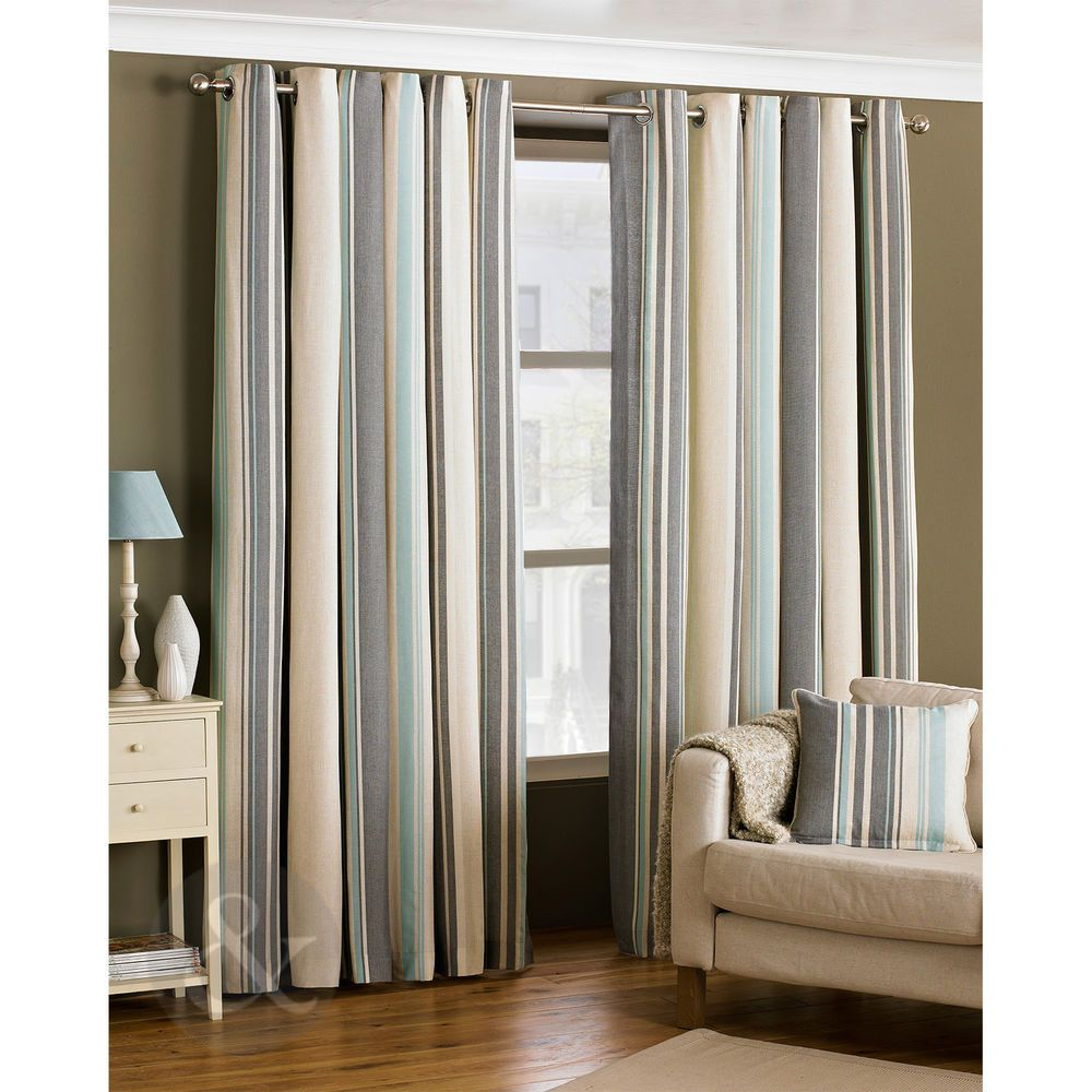 Ready Made Striped Eyelet Curtains Lined Cream Grey Duck Egg Blue Curtain Pair