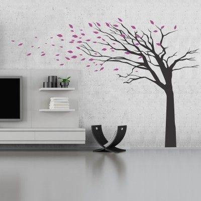 Albero foglie al vento stickers murali adesivi murali - Disegni decorativi per pareti ...