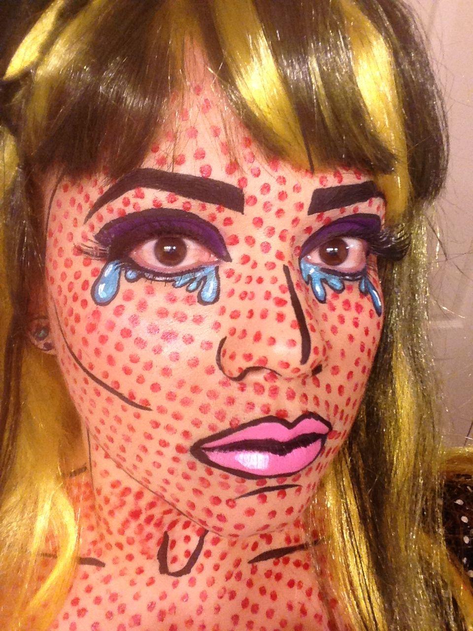 Roy Lichtenstein Halloween Costume.Roy Lichtenstein Pop Art Comic Book Makeup Halloween Costume