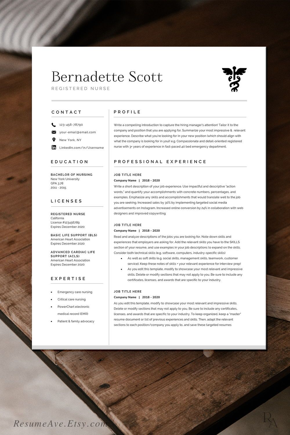 Modern nurse resume template / cv template for digital