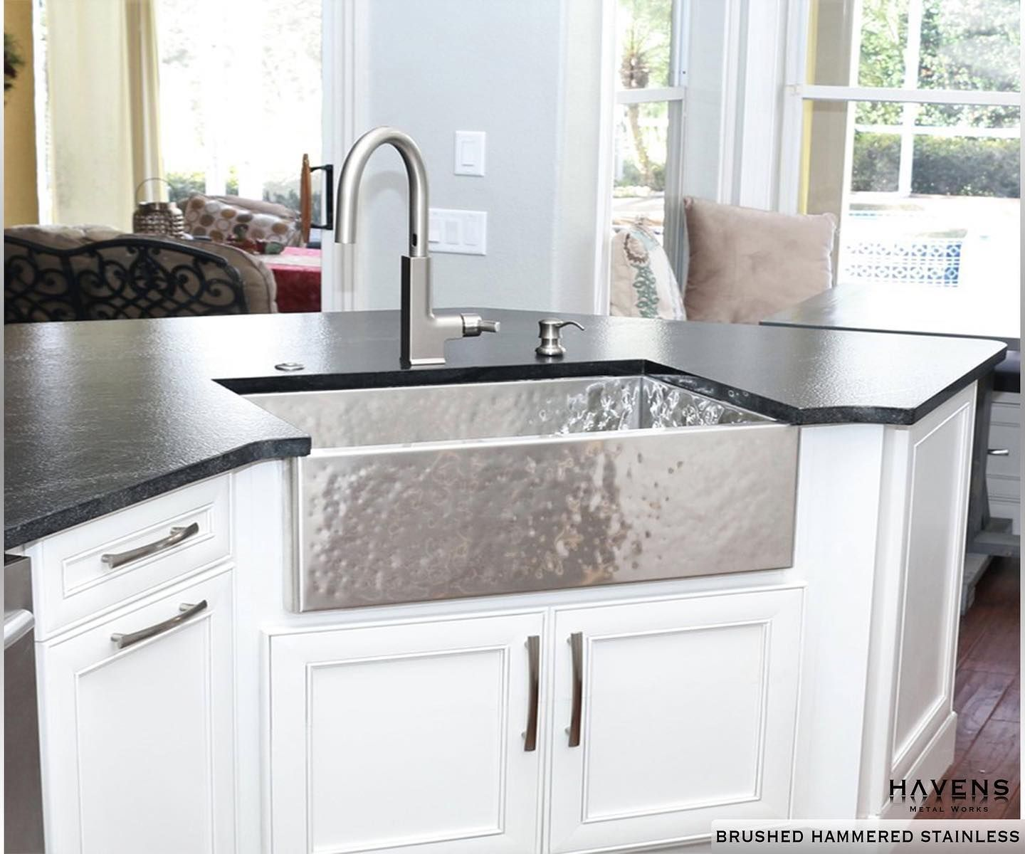 The Heritage Sink In Brushed Hammered Stainless An Incredible Kitchen Focal Stainless Steel Farmhouse Sink Stainless Farmhouse Sink Stainless Steel Farm Sink