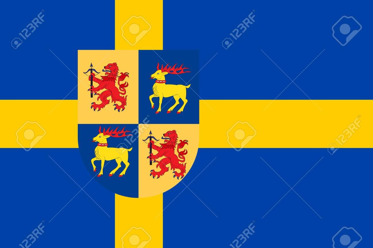 Flag Of Kalmar County Is A County Or L N In Southern Sweden 3d Illustration Affiliate County Kalmar 3d Illustration Vector Illustration Illustration