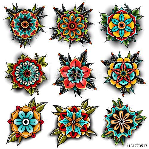 Old School Tattoo Flowers Set Mandala Tatouage Idee Tattoo En