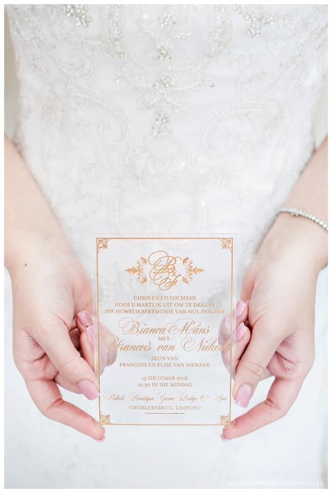 wedding invitations east london south africa%0A Bianca and Francois Acrylic Wedding Invitation with Gold  Stationer   Papermoon  PapermoonZA Photographer  Wild Flower Photography  South Africa   Limpopo