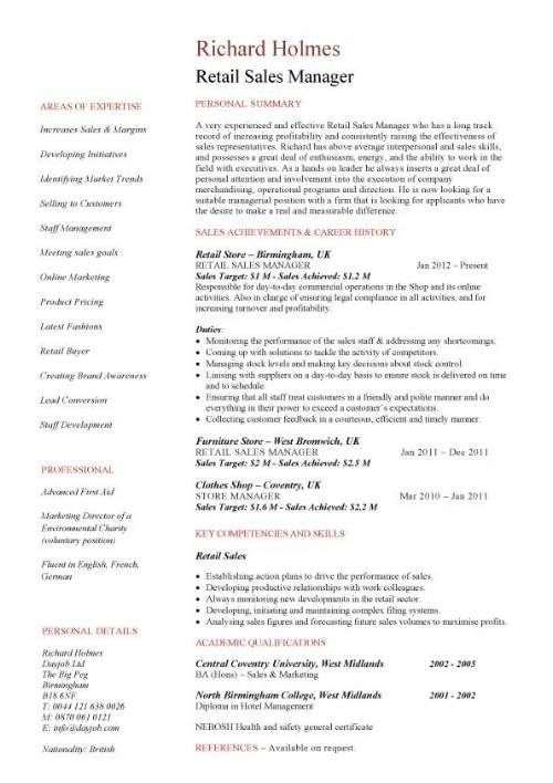 Retail Sales Manager Resume Retail Sales Manager resume Retail - resume for sales representative