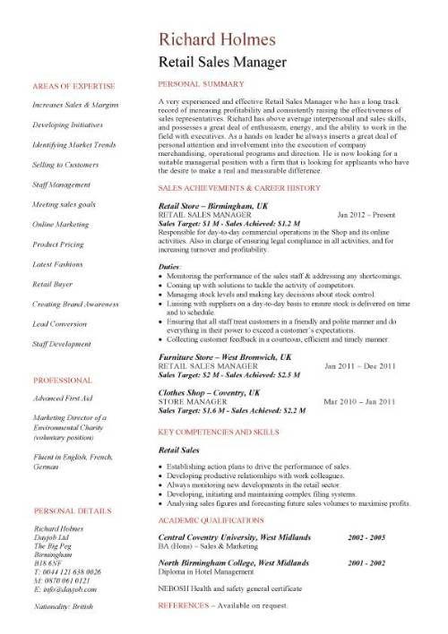 Retail Sales Manager Resume Retail Sales Manager Resume Retail Sales Manager Resume Cover Letter Sales Resume Examples Sales Resume Manager Resume