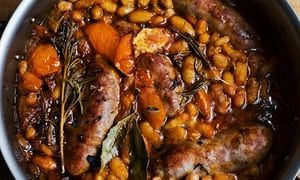 Nigel Slater's Bonfire Night baked sausage and beetroot recipes #bonfirenightfood
