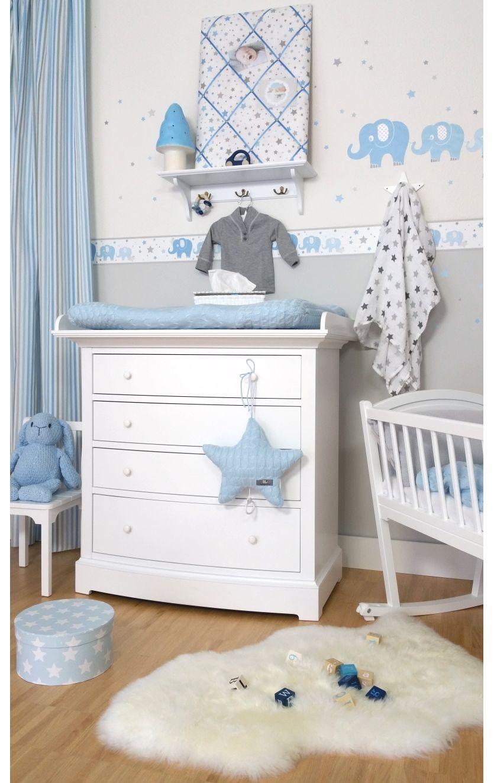 Kinderzimmer Bordüre Elefanten Blau Grau Selbstklebend